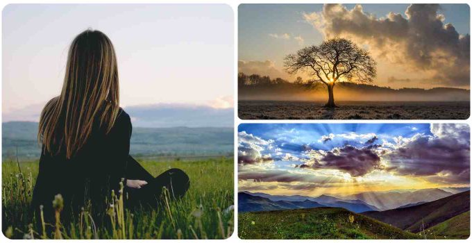 Girl in field meditating collage