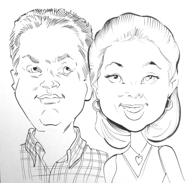 Caricuture of Married Couple on Honeymoon